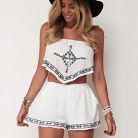 White Embroidered Tube and Shorts Set