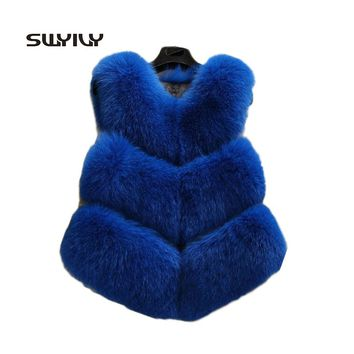 Full pelt artificial fox fur vest 5 colours Horizontal stripes womens winter warm outwear vogue 2017 new arrival femme fur coat