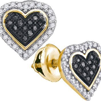 10kt Yellow Gold Womens Round Black Colored Diamond Heart Cluster Stud Earrings 1/4 Cttw