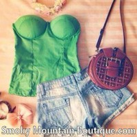 Sexy Solid Green Bustier Top with Adjustable and Removable Straps - Size S/M - Smoky Mountain Boutique