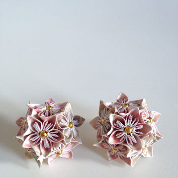 LARGE ORIGAMI EARRINGS - Light Pink and Grey Patterned Multi Floral Earrings