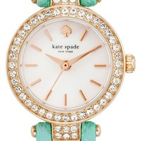 kate spade new york 'tiny metro' crystal bezel leather strap watch, 20mm | Nordstrom