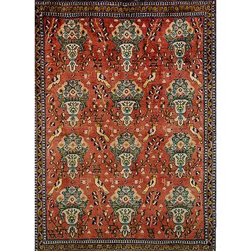 Oriental Afshar Pure Wool Persian Tribal Rug, Red/Turquoise