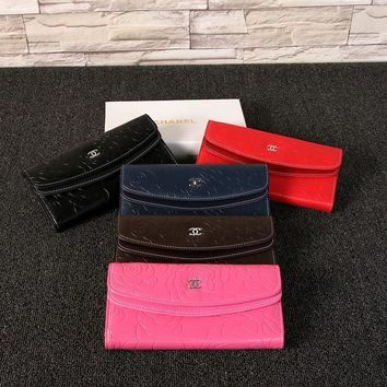 Chanel Women Solid Color Purse Simple Fashion Flower Embossed Long Section Button Three Fold Multifunction Wallet Clutch