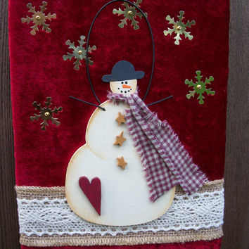 "Rustic Country Snowman Christmas Holiday Season's Greetings wall Decoration, 8"" x 6"""