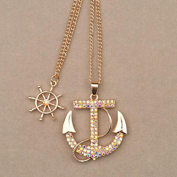White Navy Crystal Long Chain Sweater Necklace For Women
