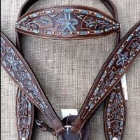 Western Leather Horse Bridle Headstall Breast Collar Dark Brown Turquoise