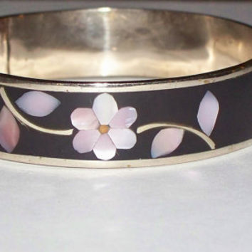 Vintage Abalone Mother of Pearl Bangle Bracelet Silver Mexico Alpaca Flowers Jewelry