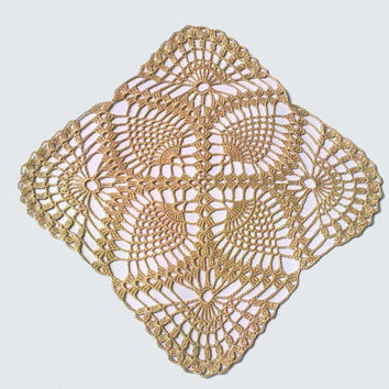 Crochet  Doily,  Ivory, Square, Pineapple, Table Centerpiece, Homedecor