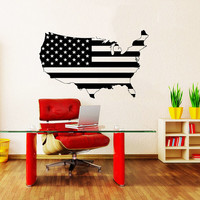 Wall Decal Vinyl Sticker Decals Home Decor Design Mural Map of The USA World States Gift Stars Travel Bedroom Dorm Window Office AN211