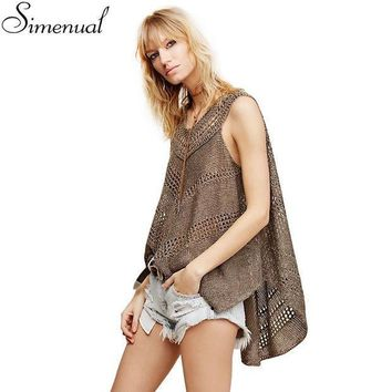 PEAPGB2 Irregular knitted women tank sleeveless summer tops 2016 fashion new slim hollow out sexy hot long cover up solid ladies tanks