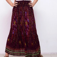Hippie Boho Simple Feather Skirts / Maxi Comfy Wide Skirts / Beach Long Skirts / Long Casual Skirts (Scarlet)