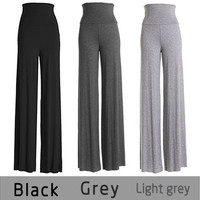 Women's Fashion Wide Leg Comfy Yoga Dance Fold Down Waist Pants [8270415041]