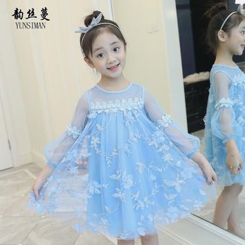 Girl Long Sleeve Dress Autumn 2018 Children Light Blue Appliques Petal Princess Dresses Girls Sweet Party Dress 3 - 12 Y 50M22A