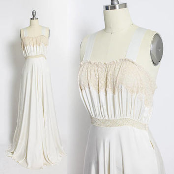 Vintage 1930s Slip - Ivory Silk Satin & Beige Lace Full Length 40s - Small / XS