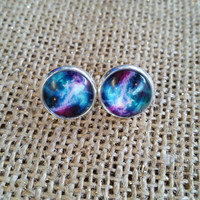 Galaxy 12mm stud earrings, galaxy earrings,  silver tone earrings.  Galaxy studs