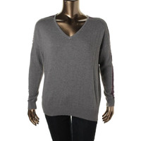 Lilla P Womens Cashmere Blend Lace Inset Pullover Sweater