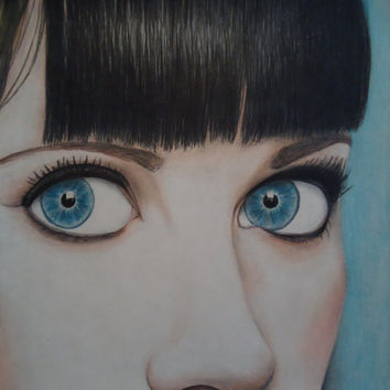 Pretty blue eyes - Zooey Deschanel - Original artwork - Art - Colored pencil drawing - Home decor - Female art - Blue decor - Original art