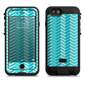 The Light Blue Thin Lined Zigzag Pattern  iPhone 6/6s Plus LifeProof Fre POWER Case Skin Kit