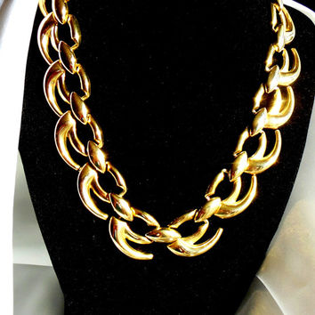 Gold Necklace Signed WM with Large Links