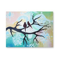 Love Birds Art, Birds painting, Original Acrylic Painting on Canvas, Abstract Bird Art, Wall Art 18x24