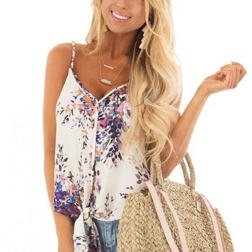 Cream and Lavender Floral Print Top with Front Tie Detail