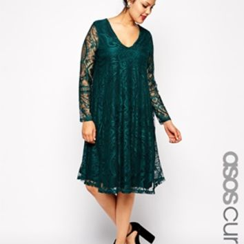 ASOS CURVE Exclusive Swing Dress In Lace With Deep V & Sleeve In Longer Length at asos.com