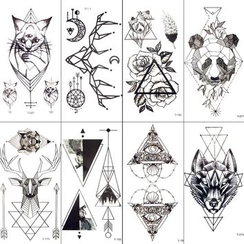 Black Geometric Cat Temporary Tattoo Moon Deer Rose Tattoo Stickers Women Party Body Arm Art Fake Tattoo Leaf Men Flower Hands