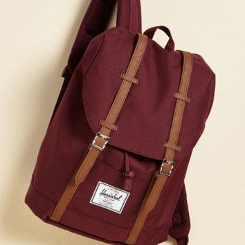 Intrepid Trek Backpack in Burgundy | Mod Retro Vintage Bags | ModCloth.com