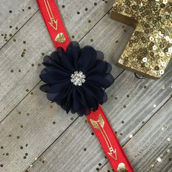 Navy Blue Chiffon Flower on Red & Metallic Gold Hearts and Arrows Planner Band