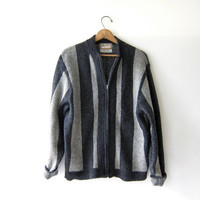 Vintage cardigan sweater. Gray Striped Wool Sweater. Boyfriend Sweater. Modern Wool Zip Up Sweater.