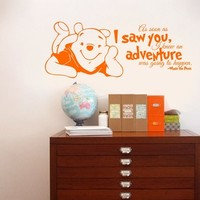 I Knew an Adventure was Going to Happen, Winnie Pooh, Disney, Vinyl Wall Decal