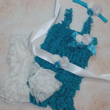 Baby Lace Romper Set, Smash Cake Outfit, Turquoise Petti Lace Romper Set, Elsa Inspired Romper Photo Prop Newborn Outfit Birthday Outfit