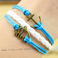 Blue wax rope - antique bronze anchor with the elephant charm bracelet - simple bracelet, the best gift of friendship
