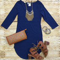 Fun in the Sun 3/4 Tunic Dress: Blue