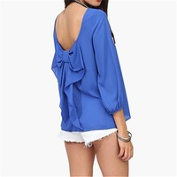 2/3 Sleeve Top with Scoop Back