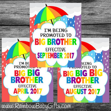PRINTABLE Personalized I'm Being Promoted To Big Brother Rainbow Baby Pregnancy Announcement Sign | DIGITAL DOWNLOAD