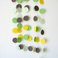 Bright Circle Felt Garland - home decor, felt bunting, nursery decor, birthday decorations, green, yellow, brown