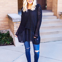 Black Knit Chiffon Layered Sweater