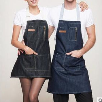 Fashion men and women coffee shop work cowboy labor insurance kitchen advertising aprons
