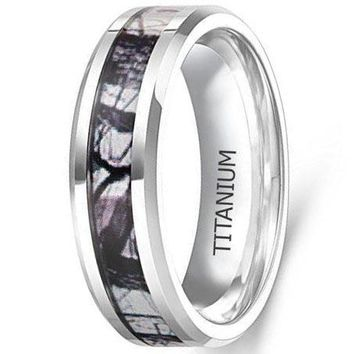 CERTIFIED 6mm Titanium Ring Wedding Band Camouflage Deer Antler Comfort Fit
