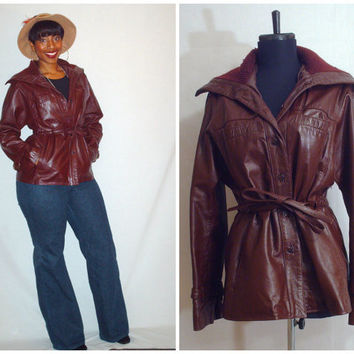 Vintage 1970s Leather Coat Etienne Aigner
