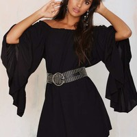 On the Move Off-The-Shoulder Dress - Black
