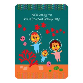 Diving in the sea with baby first birthday party card