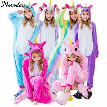Unicorn Onesuit Kigurumi Costumes Pajamas Set Cosplay Cartoon Animal Sleepwear Rainbow