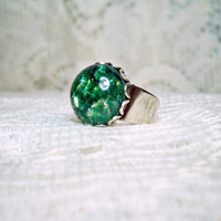Ring - Blue Green Fire Opal Ring -Modern Vintage Ring - Vintage glass Opal Ring - Vintage Style Ring - Rings - Sale - Free Shipping