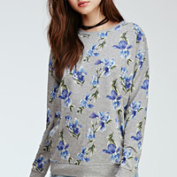 Floral Print Heathered Crew Neck Sweater