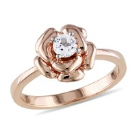 Pink Silver 1/3 Carat Created White Sapphire Fashion Ring in Sterling Silver