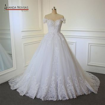 mariage  Dress Simple Boat Neck Lace Applique Patterns Crystal A-Line Wedding Dress