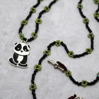 Sad Panda Charm, Long Beaded Necklace, Black